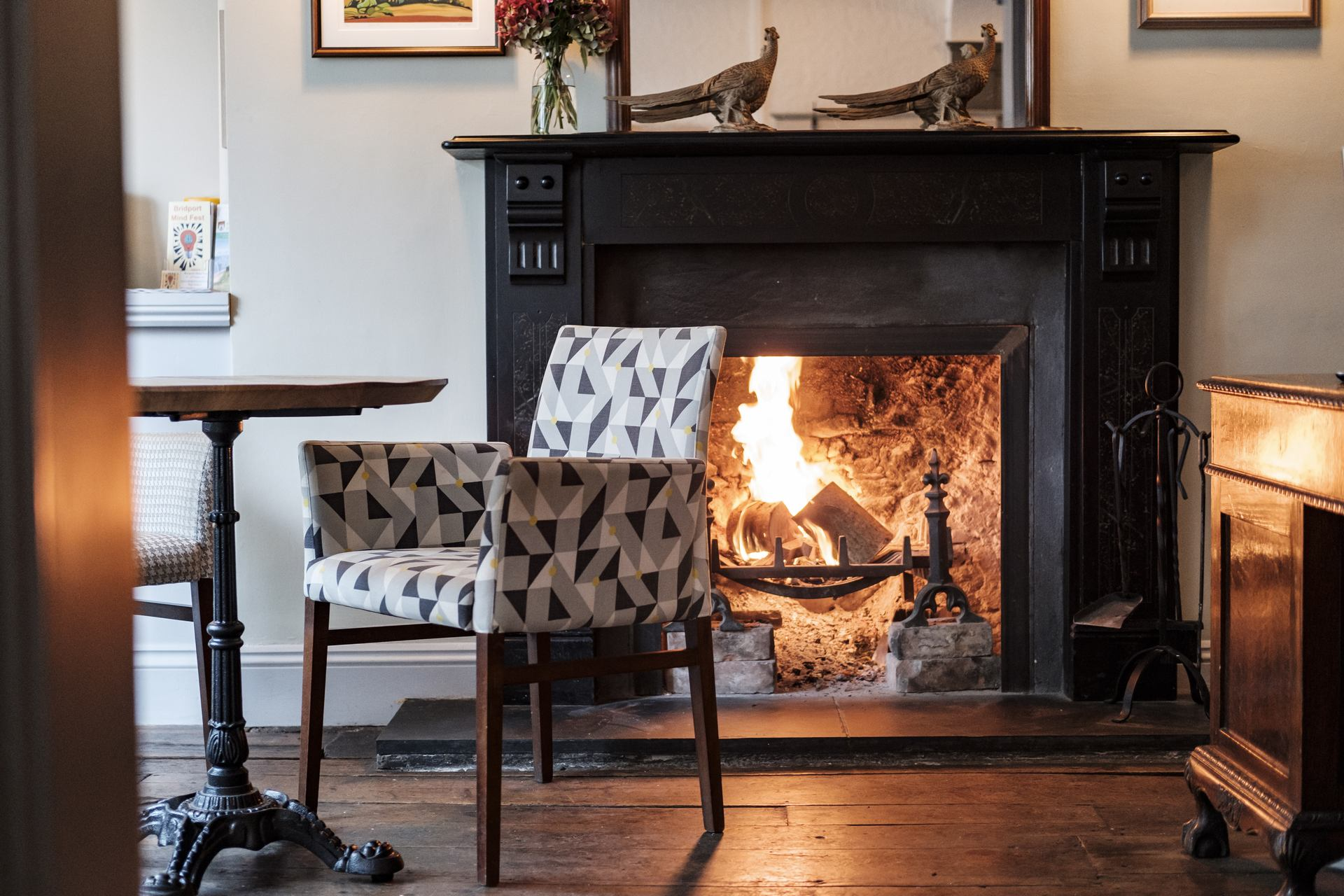roaring fireplace at the bull hotel in bridport